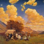 Vince McIndoe realistic oil painting wagons west