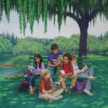 School kids reading