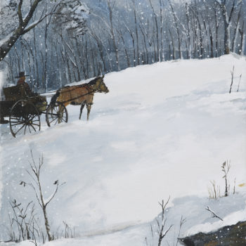 horse and wagon on snowy evening