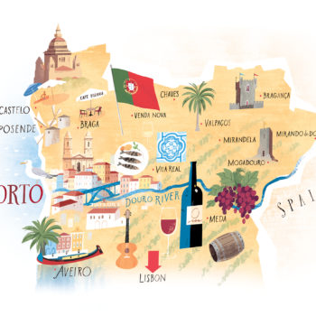Portugal map Lettering icons