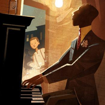 Jazz musician children's book illustration