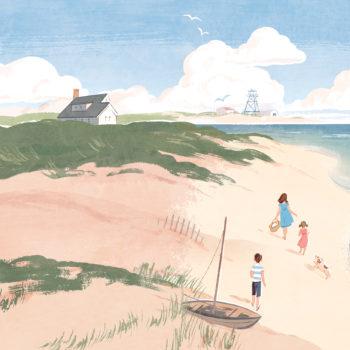 beach summer cover illustration