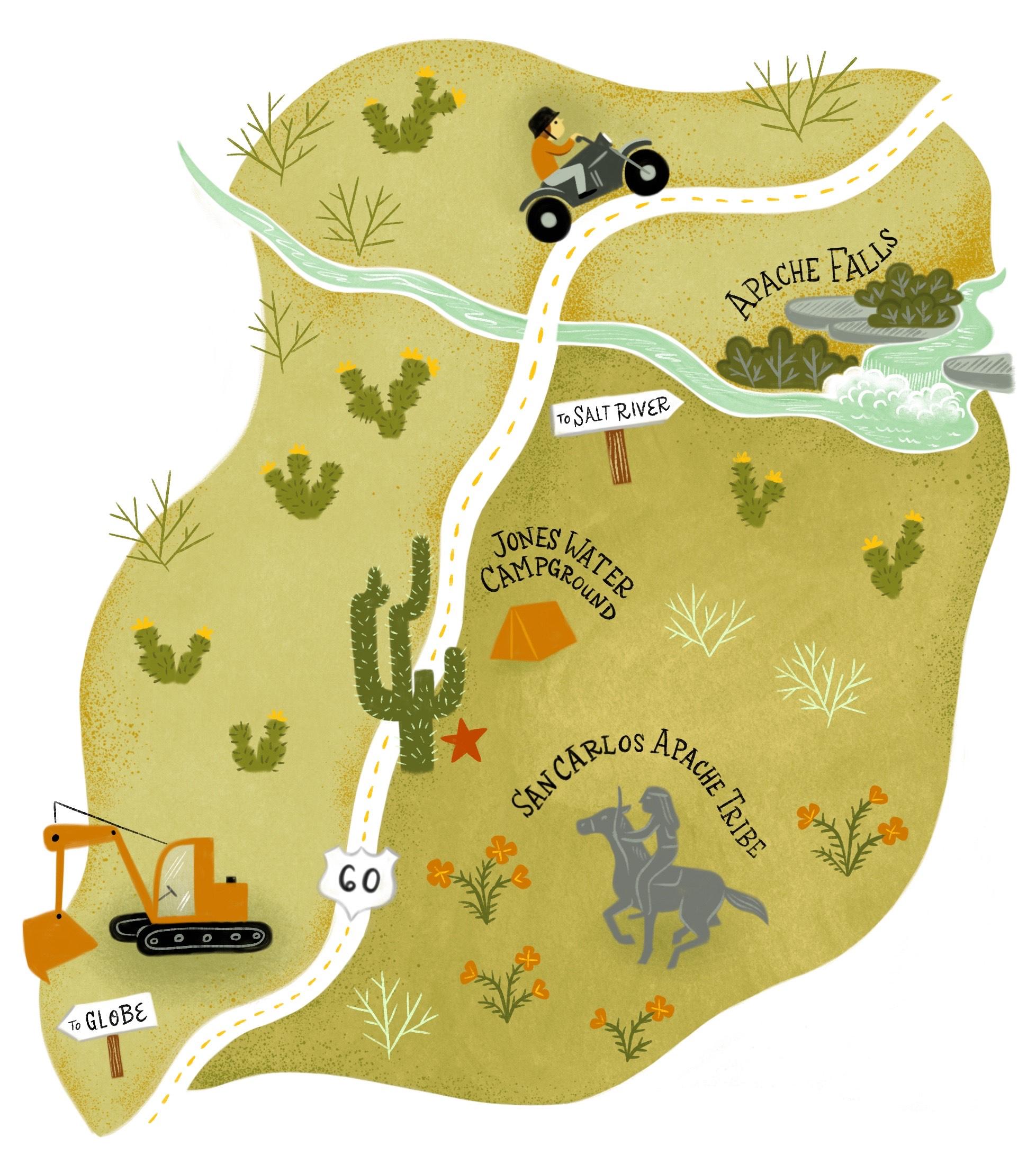US 60 saguaro cactus map