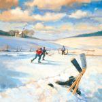 Vince McIndoe painting Hockey