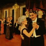 Vince McIndoe realistic oil painting Ballroom dancing