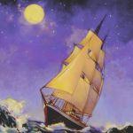 Vince McIndoe realistic oil painting Ship Moonlight